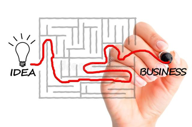 Businessathome finding-your-way-maze-to-turn-your-idea-business-illustration-start-your-own-business-concept-85379528